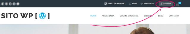 area clienti sito wordpress