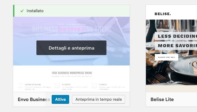 attivare tema wordpress