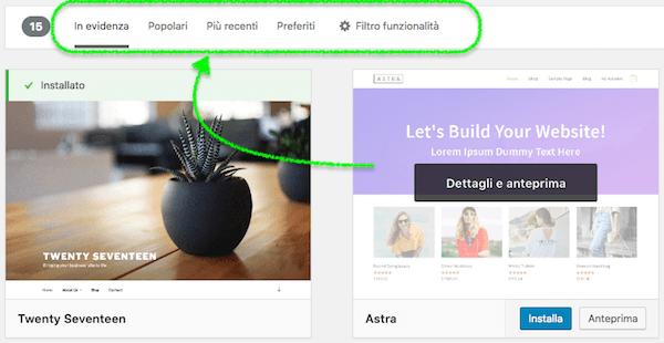 filtri ricerca temi wordpress