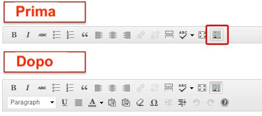 barra pulsanti editor wordpress