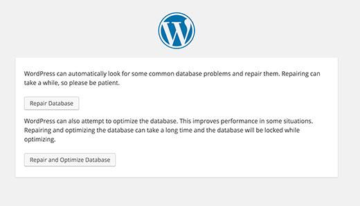 riparare database wordpress