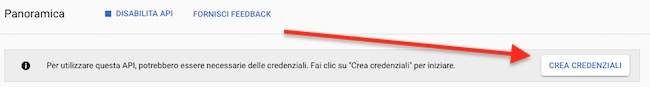crea credenziali gmail API