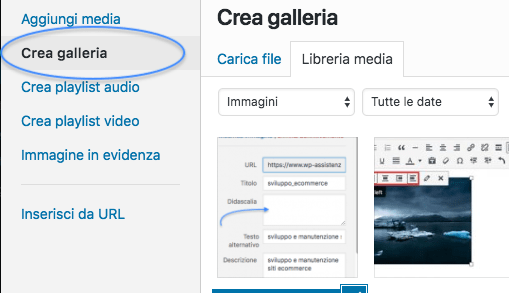 crea galleria WordPress