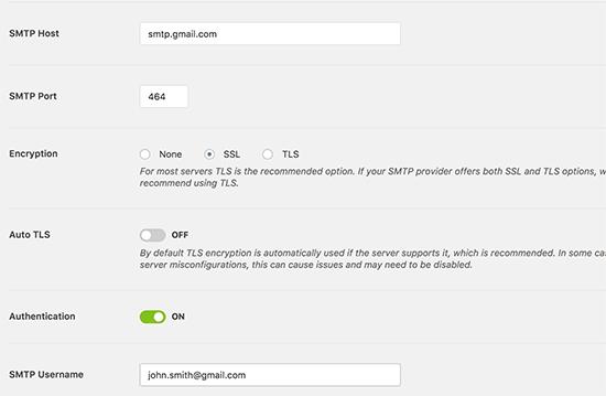 gmail smtp-wp mail smtp