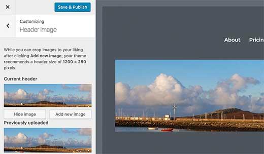 immagine intestazione wordpress