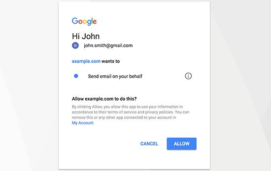 permetti a gmail invio email