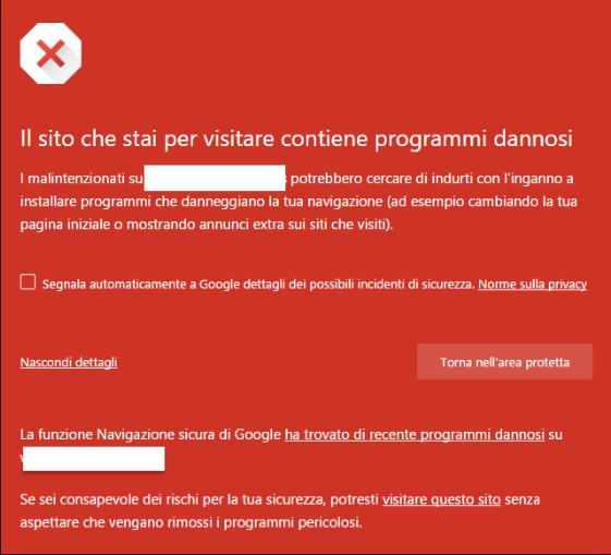 sito contiene programmi dannosi