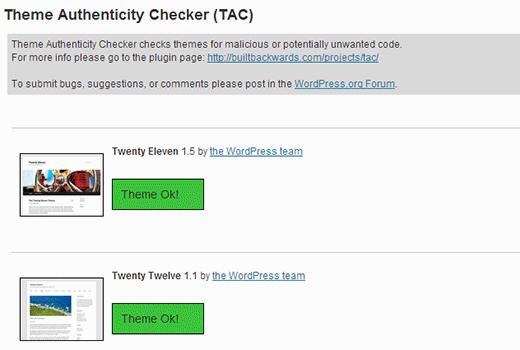 Tema Authenticity Checker che mostra i risultati