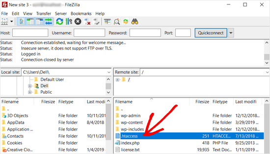htaccess file filezilla